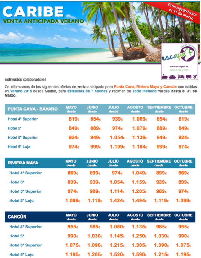 Ofertas Caribe Escapat Viatges